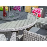 Oslo 6 Seat Round Dining Set with 3.0m Stainless Steel Parasol and Base - image 2