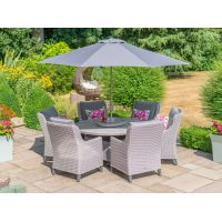 Oslo 6 Seat Round Dining Set with 3.0m Stainless Steel Parasol and Base - image 4