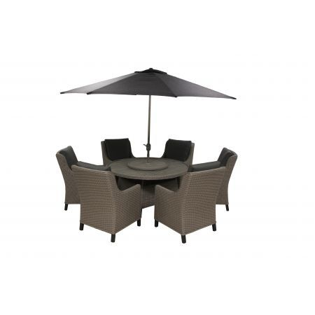 Oslo 6 Seat Round Dining Set with 3.0m Stainless Steel Parasol and Base - image 3