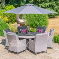 Oslo 6 Seat Round Dining Set with 3.0m Stainless Steel Parasol and Base - image 1